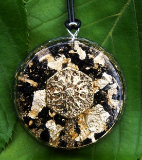 Black tourmaline orgonite pendant