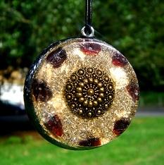 Garnet orgonite pendant