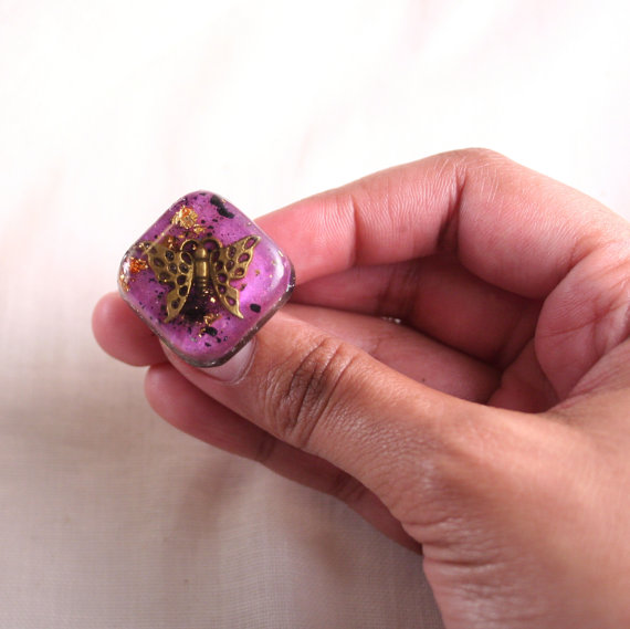 orgonite butterfly ring