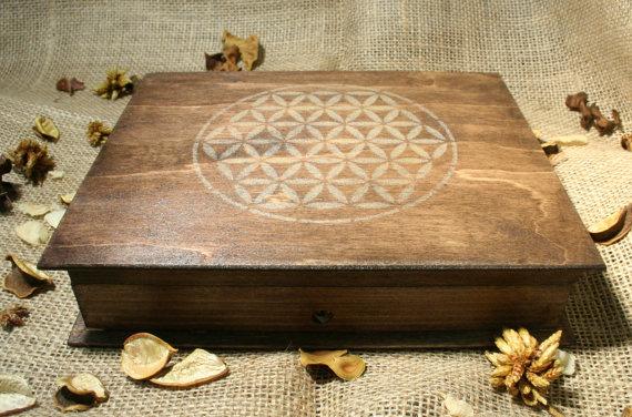 Wooden flower of life box for orgonite chakra set