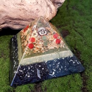 Carnelian and Jade orgonite pyramid