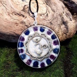 lapis and amethyst orgonite pendant