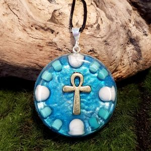 turquoise and howlite orgonite pendant