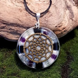 Protection orgonite pendant bronze- large orgonite necklace by Orgonise Yourself