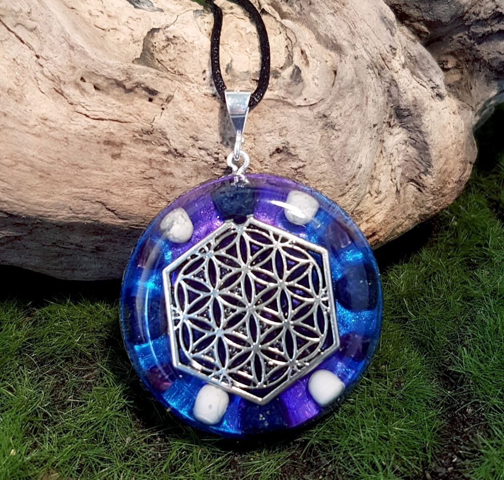 Spiritual Growth Orgonite Pendant - large orgone necklace