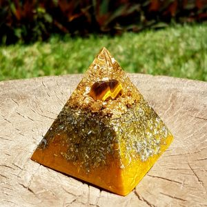 Tiger eye orgonite pyramid - solar plexus chakra - by Orgonise Yourself