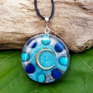 lapis and turquoise orgonite pendant