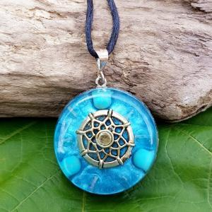 turquoise and rose quartz orgonite pendant - orgone necklace
