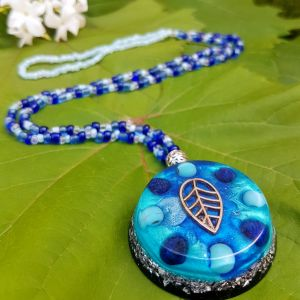 turquoise and lapis orgonite necklace
