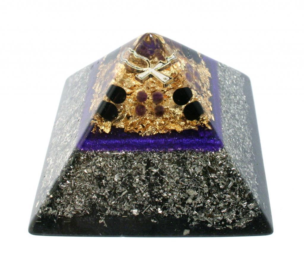 amethyst and onyx orgonite pyramid