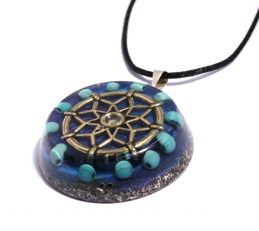 turquoise orgonite pendant - orgone energy jewellery