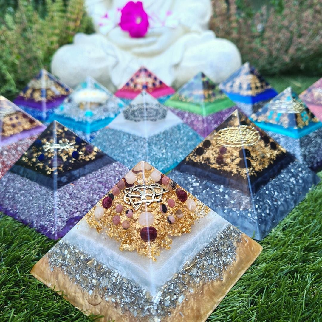 P Y R A M I D P O W E R⁠ ⁠ The pyramid is a powerful shape of spiritual significance that can assist you in amplifying and intensifying your intentions.⁠ ⁠ The top literally blasts your seeds of intention out into the universe! When combined with my orgone matrix, crystals and Love... there'll be no stopping you.⁠ ⁠ Check out my etsy shop now (via the link in my bio) to take a look at the new pyramids I've got in stock. Let's amplify and expand!⁠ ⁠ 🌞⁠ ⁠ ⁠ ⁠ ⁠