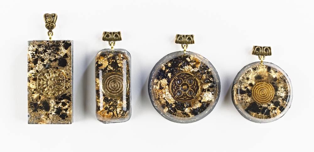Orgonise yourself crystal healing orgone crystal energy healing orgonite pendants with gold and black tourmaline aloadofball Choice Image