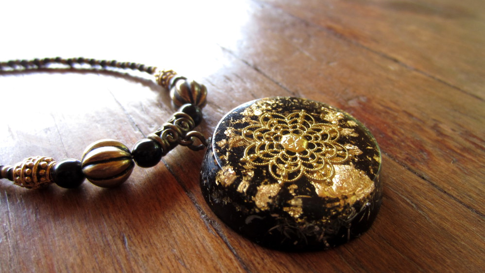 Orgonise yourself crystal healing orgone crystal energy orgonite pendants with gold and black tourmaline mozeypictures Images